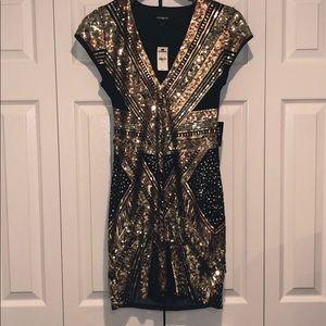 Express Black and Gold Sequins Dress